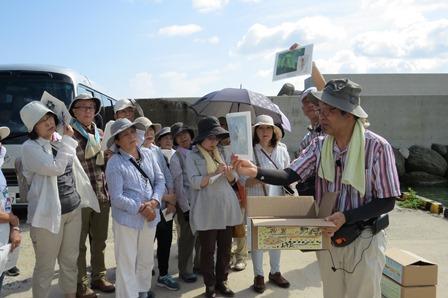 島根大学特任教授 野村律夫先生。地層の模型で説明