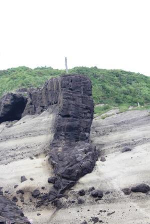 潜戸鼻には灰色の縞模様の地層に、安山岩の岩脈(黒色)が貫入した場所があります。 大地の変動はすごい!