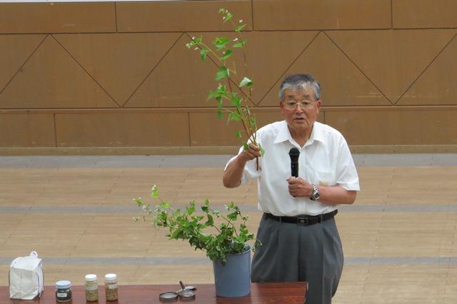 ソバの花を手に説明する、農学博士 中塚 敏之氏