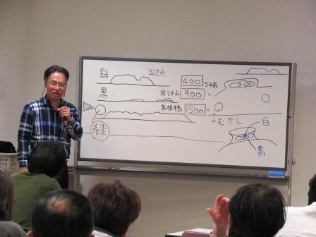 もう一度座学会場に戻り最後のまとめ 緑の上に黒が、黒の上に白が誕生し松江の大地が形成されていることを学びました これでよーくわかりました!!